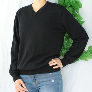 Sweaters - Cozy Black Winter Sweater Long Sleeves Knitted M